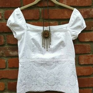 Tops - Romantic White Damask Top